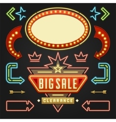 Retro Showtime Signs Design Elements Set Bright vector