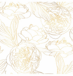 Roses peony floral vintage seamless pattern vector