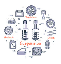 Round banner of suspension - car part vector