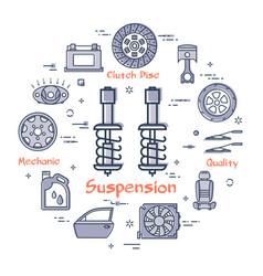 Round banner suspension - car part vector