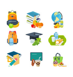 School lunches with backpacks books stationery vector