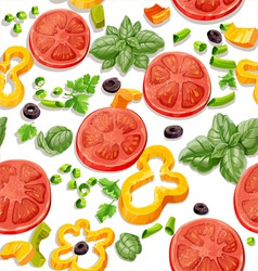 Seamless pattern from vegetables and herbs vector image