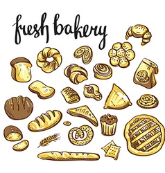 Set of bakery icons Bread cookies cake pie vector image