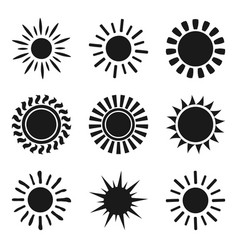 Set of black sun icon symbols isolated on white vector