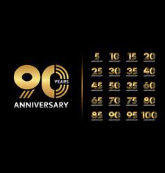 Set premium anniversary logotype golden and vector