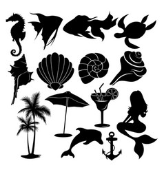 set summer elements collection beach vector image