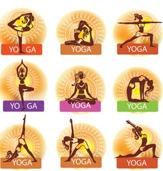 set woman in meditating and doing yoga poses vector image