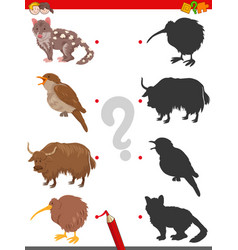 Shadow game with funny animal characters vector