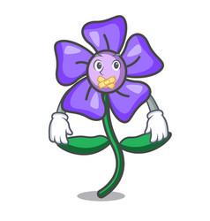 Silent periwinkle flower mascot cartoon vector