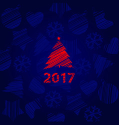 silhouette a stroke christmas tree red color vector image
