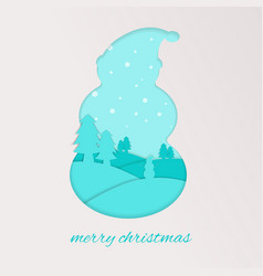 snowman silhoutte with background snowy sky vector image