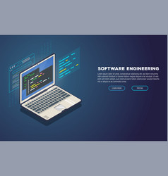 Software development banner vector