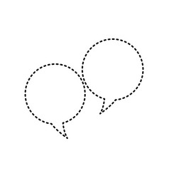 speech bubble sign black dashed icon on vector image