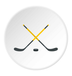 Sticks and puck icon circle vector