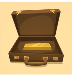 Suitcase with gold bullion vector