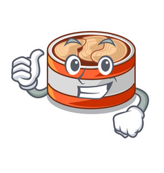 Thumbs up canned tuna above character wooden table vector