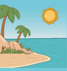 Tree palms beach scene vector