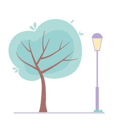 tree postlamp street urban isolated design icon vector image