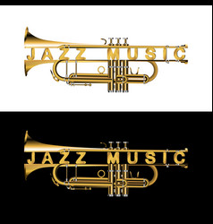 Trumpet in a cut with an inscription jazz music vector