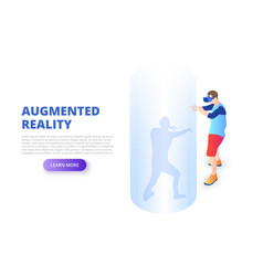 virtual reality design concept with man playing vector image