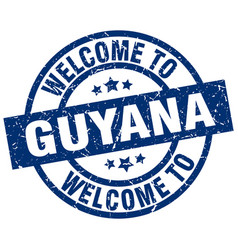 Welcome to guyana blue stamp vector