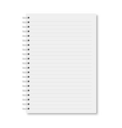 White realistic horizontal lined a5 notebook vector