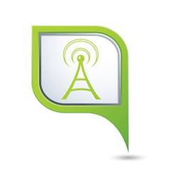 wifi icon on green map pointer vector image