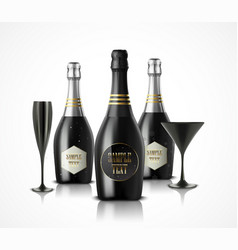 Wineglass and champagne wine bottles vector