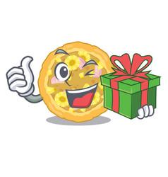with gift hawaiian pizza is served cartoon plates vector image