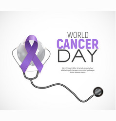 World cancer day concept with lavender ribbon vector