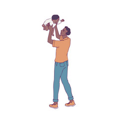 Young father playing vector