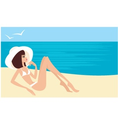 young woman on a beach vector image