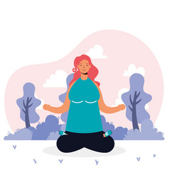 Young woman practicing yoga avatar character vector