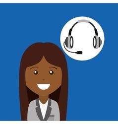 afroamerican girl headphones for support vector image