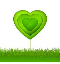 green paper eco heart tree vector image vector image