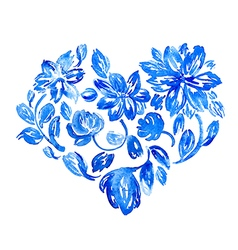 Hand drawn watercolor flower heart vector image vector image