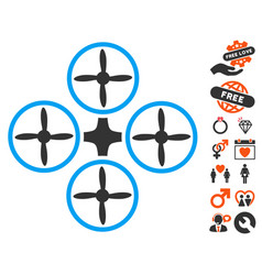 quadcopter icon with love bonus vector image vector image