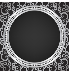 silver pattern with swirls and pearl frame vector image vector image