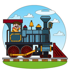 the old steam locomotive railway transport game vector image