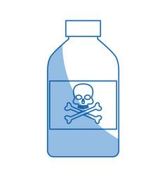 Bottle poison chemical danger skull bone shadow vector