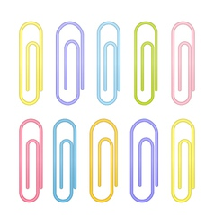 Colorful paperclip icons on a white vector image