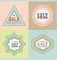 geometrical retro textured shapes sale emblems set vector image vector image