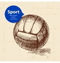 Hand drawn sport object sketch volleyball vector