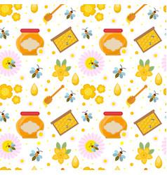 honey seamless pattern beekeeping endless vector image