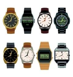 Man wrist watch flat set vector image vector image