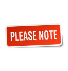 Please note square sticker on white vector