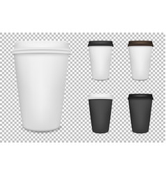 realistic blank paper coffee cup set vector image