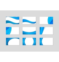 Set of Business Card with abstract blue waves vector image