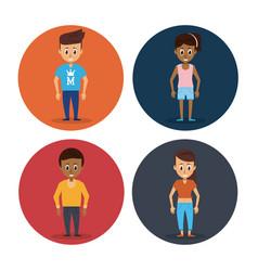 women young men cartoon vector image