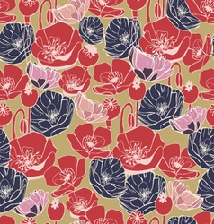beautiful poppy flowers pattern background vector image